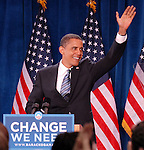The Candidate<br /> Barack Obama waves to the crowd at the Colorado School of Mines during a campaign event on September 16, 2008.<br /> Golden, Colorado