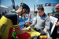 Heistse Pijl 2013<br /> <br /> Tom Boonen (BEL) at the start, signing a tricolore shirt