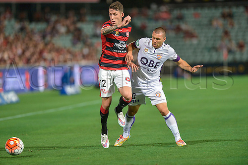 26.02.2016. Pirtek Stadium, Parramatta, Australia. Hyundai A-League. Western Sydney Wanderers versus Perth Glory. Wanderers defender Scott Neville and Perth midfielder Nebojsa Marinkovic in action.