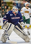 20 January 2017: University of Connecticut Husky Goaltender Adam Huska, a Freshman from Zvolen, Slovakia, in second period action against the University of Vermont Catamounts at Gutterson Fieldhouse in Burlington, Vermont. The Huskies fell to the Catamounts 5-4 in the first game of their Home-and-Home Hockey East Series. Mandatory Credit: Ed Wolfstein Photo *** RAW (NEF) Image File Available ***