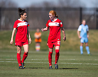 Tori Huster, Domica Hodak. The Washington Spirit defeated the North Carolina Tar Heels in a preseason exhibition, 2-0, at the Maryland SoccerPlex in Boyds, MD.