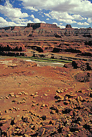 View along the White Rim Trail, Island In The Sky area,  slickrock, southern Utah, colorado plateau, redrock, wilderness, Organ Rock Shale, Moenkopi formation, Kayenta formation, Wingate sandstone formation, Chinle Formation, White Rim Sandstone for rmati