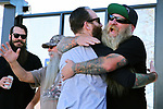 Competitors Matt Lee from Reno greets Jonny Olson from Washoe Valley in the annual longest beard contest in Carson City, Nev., on Saturday, October 28, 2017.  <br /> Photo by Lance Iversen/Nevada Momentum