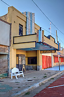 The old Avalon Theater in Mclean Texas, built in the 1930s, has a beautiful Art Deco facade that the Old Route 66 Association of Texas has restored.