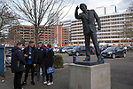 Home fans gathering next to the statue to former manager Sir Bobby Robson outside the stadium before Ipswich Town play Oxford United in a SkyBet League One fixture at Portman Road. Both teams were in contention for promotion as the season entered its final months. The visitors won the match 1-0 through a 44th-minute Matty Taylor goal, watched by a crowd of 19,363.