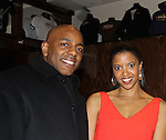 One Life To Live's Renee Elise Goldsberry poses with her husband Alexis - Opening Night of Broadway's Good People on March 3, 2011 at the Samuel J. Friedman Theatre, New York City, New York with the after party was at B.B. Kings, NYC. (Photo by Sue Coflin/Max Photos)