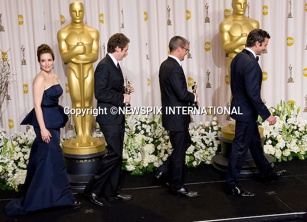 "TINA FEY, KIRK BAXTER, ANGUS WALL AND BRADLEY COOPER.Baxter and Wall won Achievement in Film Editing for ""The Girl With Dragon Tattoo""  at the 84th Academy Awards, Kodak Theatre, Hollywood, Los Angeles_26/02/2012.Mandatory Photo Credit: ©Dias/Newspix International..**ALL FEES PAYABLE TO: ""NEWSPIX INTERNATIONAL""**..PHOTO CREDIT MANDATORY!!: NEWSPIX INTERNATIONAL(Failure to credit will incur a surcharge of 100% of reproduction fees)..IMMEDIATE CONFIRMATION OF USAGE REQUIRED:.Newspix International, 31 Chinnery Hill, Bishop's Stortford, ENGLAND CM23 3PS.Tel:+441279 324672  ; Fax: +441279656877.Mobile:  0777568 1153.e-mail: info@newspixinternational.co.uk"