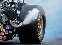 Mar 16, 2019; Gainesville, FL, USA; Detailed view of a Goodyear racing tire on the dragster of NHRA top alcohol dragster driver Jasmine Salinas during qualifying for the Gatornationals at Gainesville Raceway. Mandatory Credit: Mark J. Rebilas-USA TODAY Sports