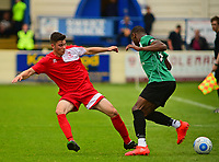 Lincoln City's James Hugo vies for possession with Gainsborough Trinity's Jonathan Wafula<br /> <br /> Photographer Andrew Vaughan/CameraSport<br /> <br /> Pre-Season Friendly - Gainsborough Trinity v Lincoln City - Saturday 15th July 2017 - The Gainsborough Martin &amp; Co Arena - Gainsborough<br /> <br /> World Copyright &copy; 2017 CameraSport. All rights reserved. 43 Linden Ave. Countesthorpe. Leicester. England. LE8 5PG - Tel: +44 (0) 116 277 4147 - admin@camerasport.com - www.camerasport.com