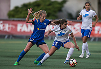 Seattle, WA - Saturday July 15, 2017: Beverly Yanez, Morgan Andrews during a regular season National Women's Soccer League (NWSL) match between the Seattle Reign FC and the Boston Breakers at Memorial Stadium.