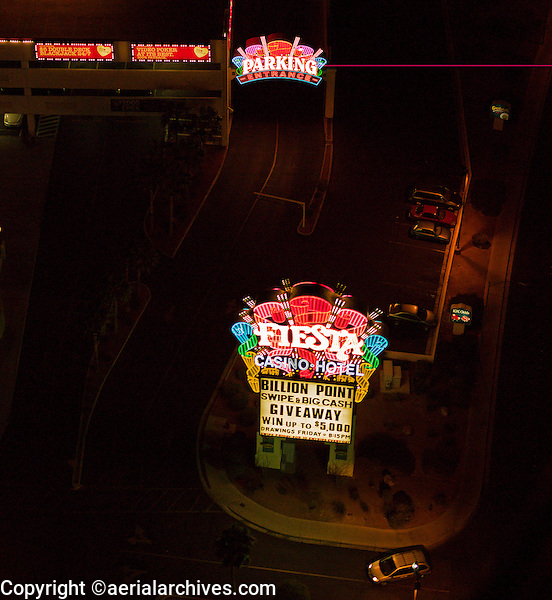 aerial photograph night time Fiesta Casino Hotel, Las Vegas, Clark County, Nevada