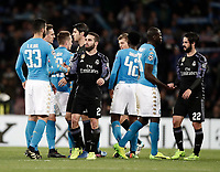 Football Soccer: UEFA Champions League Round of 16 second leg, Napoli-Real Madrid, San Paolo stadium, Naples, Italy, March 7, 2017. <br /> Real Madrid' players greets Napoli's players after winning the Champions League football soccer match between Napoli and Real Madrid at the San Paolo stadium, 7 March 2017. <br /> Real Madrid won 3-1 to reach the quarter-finals.<br /> UPDATE IMAGES PRESS/Isabella Bonotto