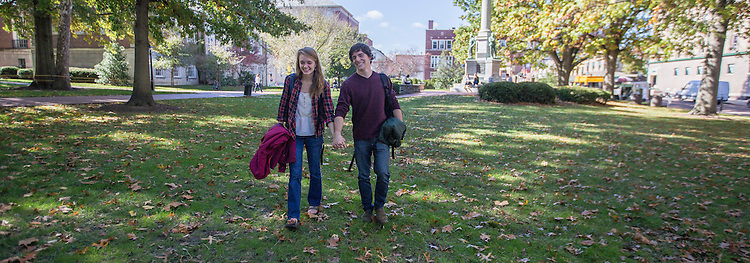 Caitlyn Tetterton and Louie Allen enjoy a day on campus together on Thursday, October 23, 2014. The two met at Ohio University through their shared love of the outdoors.