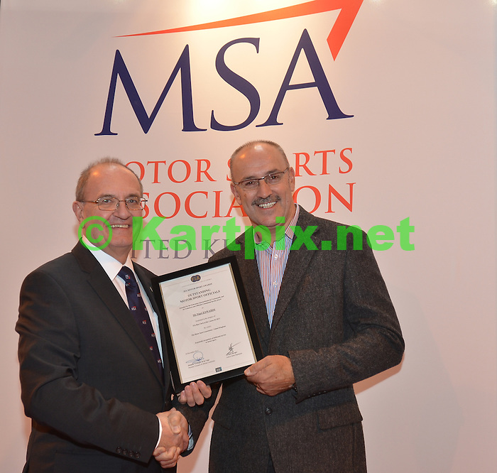 Nigel Edwards receiving his FIA Motorsport Award for Outstanding Motorsports Officials.