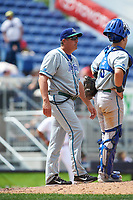Hartford Yard Goats pitching coach Dave Burba (36) walks to the mound during a game against the Binghamton Rumble Ponies on July 9, 2017 at NYSEG Stadium in Binghamton, New York.  Hartford defeated Binghamton 7-3.  (Mike Janes/Four Seam Images)