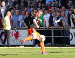 Sheffield United's John Fleck scoring his sides second goal during the League One match at the Sixfields Stadium, Northampton. Picture date: April 8th, 2017. Pic David Klein/Sportimage