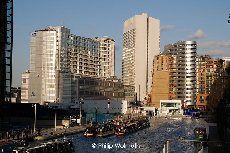 The Hilton London Metropole hotel and the West End Quay development at Paddington Basin