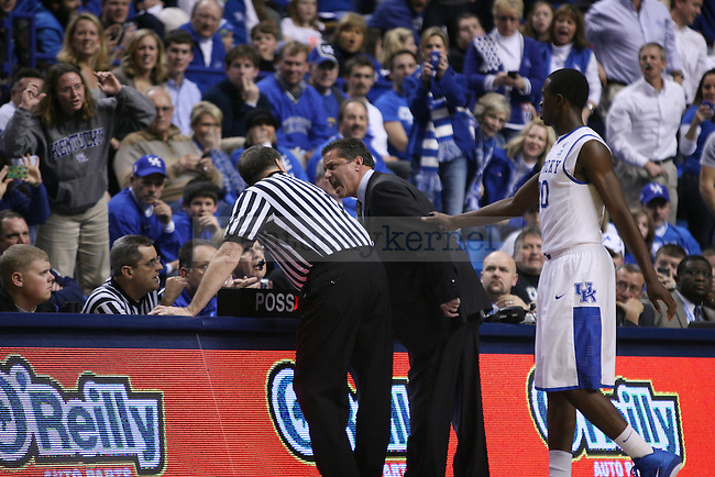 Head Coach John Calipari yells at the referee after recieving his second technical foul to be ejected from the game against Mississippi Valley State at Rupp Arena on Saturday, Dec. 18, 2010. Photo by Scott Hannigan | Staff