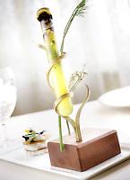 "Slug: FD/Vegetarian.Date: Feb 23th, 2005.Photographer: Mark Finkenstaedt FTWP.Location: Meastro Restaurant.  The Ritz Carlton. Tyson's Corner, VA.Caption: Chef ..***1. Fennel  anise shot, napoleon of sour cream and fresh herbs...2. Wheel of  red peppers, basil, blood orange, ""Laudato"" extra virgin olive  oil...3. Fontina  cheese fondue, quenelle of polenta Bergamasca, truffle-milk froth,  parsnips fritte, Norcia black truffle."