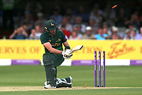 Riki Wessels of Notts is bowled out by Jamie Porter during Essex Eagles vs Notts Outlaws, Royal London One-Day Cup Semi-Final Cricket at The Cloudfm County Ground on 16th June 2017