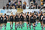 09 November 2014: Wake Forest players run across the field after the game to celebrate with their fans and family in the stands. The Wake Forest University Demon Deacons played the Syracuse University Orange at Jack Katz Stadium in Durham, North Carolina in the 2014 Atlantic Coast Conference NCAA Division I Field Hockey Championship Game. Wake Forest won the ACC Championship game 2-0.
