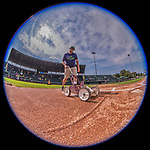 4 September 2017: A field crew member sprays down the home plate batter's box lines prior to the first game of a double-header against the Tri-City ValleyCats at Centennial Field in Burlington, Vermont. The teams split their day, with Tri-City winning 6-5 in the first game, and the Lake Monsters taking the second 7-4 in NY Penn League action. Mandatory Credit: Ed Wolfstein Photo *** RAW (NEF) Image File Available ***