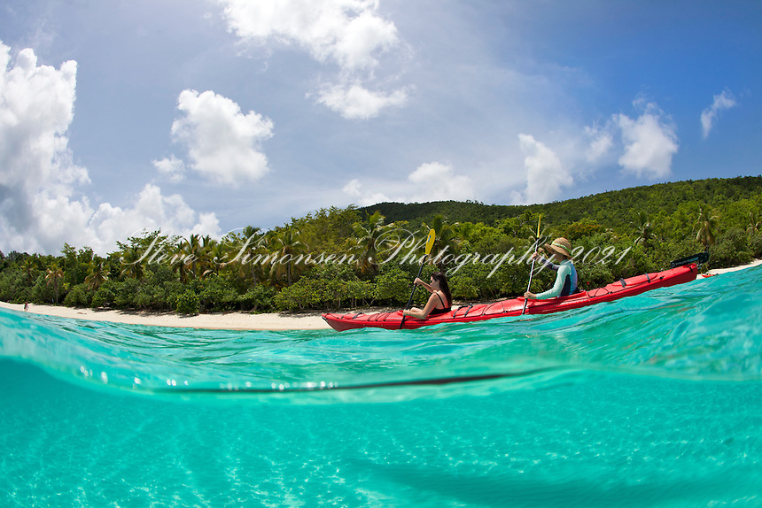 Split level kayakers<br /> Honeymoon Beach<br /> Virgin Islands National Park<br /> St. John<br /> U.S. Virgin Islands