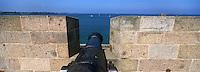 Europe/France/Bretagne/35/Ille-et-Vilaine/Saint-Malo: Détail Canon sur les Remparts de la Ville Close
