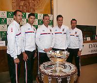 30-01-14,Czech Republic, Ostrava, Cez Arena, Daviscup Czech Republic vs Netherlands, Czech team.<br /> Photo: Henk Koster