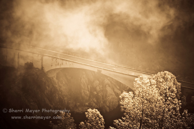 "Fog surrounding the famous and historical ""No Hands Bridge"", Auburn, CA."