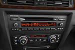 Stereo audio system close up detail view of a 2005 - 2008 BMW 3-Series 328i Wagon.