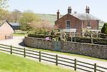 Manor Farm farmhouse, Huish, Vale of Pewsey, Wiltshire, England, UK view to chalk scarp slope