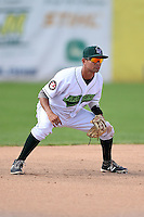 Jamestown Jammers third baseman Francisco Aponte (31) during a game against the Vermont Lake Monsters on July 13, 2014 at Russell Diethrick Park in Jamestown, New York.  Jamestown defeated Vermont 6-2.  (Mike Janes/Four Seam Images)