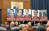 "Posters shown by US Representative Elijah Cummings (Democrat of Maryland), Ranking Member, US House Committee on Oversight and Government Reform, uses posters to illustrate his opening remarks prior to hearing from FBI Deputy Assistant Director Peter Strzok who will during a joint hearing of both the Oversight and the US  House Committee on the Judiciary on ""Oversight of FBI and DOJ Actions Surrounding the 2016 Election"" on Capitol Hill in Washington, DC on Thursday, July 12, 2018. <br /> Credit: Ron Sachs / CNP<br /> (RESTRICTION: NO New York or New Jersey Newspapers or newspapers within a 75 mile radius of New York City)"