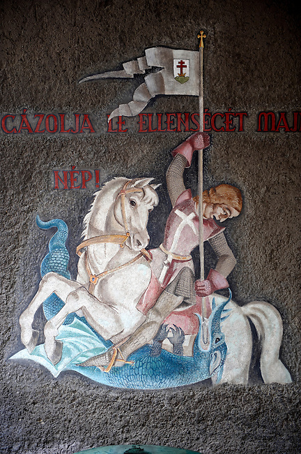 Frescos of St George by Vilmos Aba-Novák (1937). Hero Gate First  World War Memorial  - Szeged, Hungary