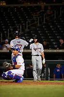 Scottsdale Scorpions Joey Bart (27), of the San Francisco Giants organization, is congratulated by Kevin Smith (4) after hitting his first home run of the game during an Arizona Fall League game against the Mesa Solar Sox on September 18, 2019 at Sloan Park in Mesa, Arizona. Scottsdale defeated Mesa 5-4. (Zachary Lucy/Four Seam Images)