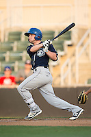 Max George (3) of the Asheville Tourists follows through on his swing against the Kannapolis Intimidators at Kannapolis Intimidators Stadium on May 26, 2016 in Kannapolis, North Carolina.  The Tourists defeated the Intimidators 9-6 in 11 innings.  (Brian Westerholt/Four Seam Images)
