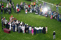 LOUISVILLE, KY - MAY 05: Abel Tasman #13, ridden by Mike Smith, and the connections pose for a photograph in the winner's circle after winning the Longines Kentucky Oaks on Kentucky Oaks Day at Churchill Downs on May 5, 2017 in Louisville, Kentucky. (Photo by Jon Durr/Eclipse Sportswire/Getty Images)
