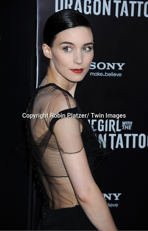 "Rooney Mara in black Prabal Gurung dress attends the New York Premiere of ""The Girl With The Dragon Tattoo"" on December 14, 2011 at The Ziegfeld Theatre in New York City. The movie stars Daniel Craig, ..Rooney Mara, Christopher Plummer, Stellan Skarsgard, Robin Wright and Joely Richardson."