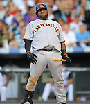 Pablo Sandoval of the San Francisco Giants reacts to being called out on strikes in a game against the Colorado Rockies at Coors Field in Denver, Colorado on July 1, 2010.  (Photo by Bob Campbell)