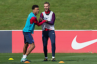 Jordan Henderson and Dele Alli during the part open training session of the  England national football squad at St George's Park, Burton-Upon-Trent, England on 31 August 2017. Photo by James Williamson.