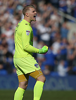 Oldham Athletic's goalkeeper Connor Ripley celebrates his sides second goal<br /> <br /> Photographer Stephen White/CameraSport<br /> <br /> The EFL Sky Bet League One - Oldham Athletic v Fleetwood Town - Saturday 8th April 2017 - SportsDirect.com Park - Oldham<br /> <br /> World Copyright &copy; 2017 CameraSport. All rights reserved. 43 Linden Ave. Countesthorpe. Leicester. England. LE8 5PG - Tel: +44 (0) 116 277 4147 - admin@camerasport.com - www.camerasport.com