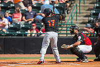 Yermin Mercedes (17) of the Delmarva Shorebirds at bat against the Hickory Crawdads at L.P. Frans Stadium on June 18, 2016 in Hickory, North Carolina.  The Crawdads defeated the Shorebirds 1-0 in game one of a double-header.  (Brian Westerholt/Four Seam Images)