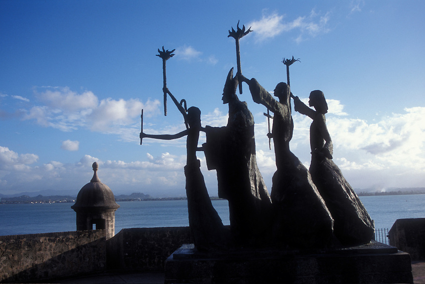 Statue of a priest and parishoners. old San Juan, Puerto Rico,
