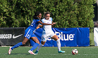 Allston, MA - Saturday August 19, 2017: Ifeoma Onumonu, Monica Hickmann Alves during a regular season National Women's Soccer League (NWSL) match between the Boston Breakers (blue) and the Orlando Pride (white/light blue) at Jordan Field.