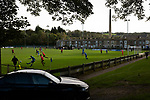 Nelson 3 Daisy Hill 6, 12/10/2019. Victoria Park, North West Counties League, First Division North. First-half action as Nelson (in blue) hosted Daisy Hill Victoria Park. Founded in 1881, the home club were members of the Football League from 1921-31 and has played at their current ground, known as Little Wembley, since 1971. The visitors won this fixture 6-3, watched by an attendance of 78. Photo by Colin McPherson.