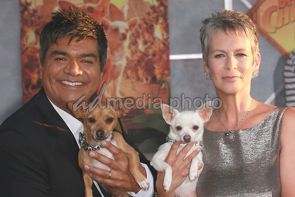 "18 September 2008 - Hollywood, California - George Lopez and Jamie Lee Curtis. ""Beverly Hills Chihuahua"" Los Angeles Premiere held at the El Capitan Theatre. Photo Credit: Charls Harris/AdMedia"
