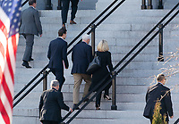 January 6, 2019 - Washington, DC, United States: Senior Advisor Jared Kushner, United States Vice President Mike Pence and United States Secretary of Homeland Security (DHS) Kirstjen Nielsen walk to the Eisenhower Executive Office Building to continue negations with Democratic staff members to end the government shutdown. Building in Washington, DC to continue negations with Democratic staff members to end the government shutdown on Sunday, January 6, 2019. Photo Credit: Chris Kleponis/CNP/AdMedia