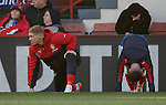 Martyn Waghorn looking over to the Rangers dugout in vain hope of getting on