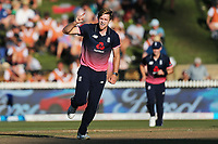 England's David Willey celebrates the wicket of New Zealand captain Kane Williamson. New Zealand Blackcaps v England. One Day International Cricket. Seddon Park, Hamilton, New Zealand on Sunday 25 February 2018.<br /> <br /> Copyright photo: &copy; Bruce Lim / www.photosport.nz